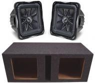 "Kicker Subwoofer Package (2) S12L7 Subs & Dual 12"" Vented Enclosure"