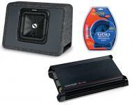 "Kicker Car Audio Single L3 10"" TS10L3 4 Ohm Loaded Truck Sub Box, DX300.2 Amplifier & Am..."