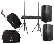 "DJ Package Gemini (2) GVX-12 Passive 700 Watts 12"" Speaker Pair System with Stands & Gat..."