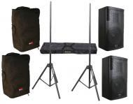 "DJ Package Gemini (2) GVX-12 Passive 700 Watts 12"" Speaker Pair System with Adjustable Stand..."