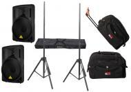 "DJ Package Behringer Pro Audio (2) B215D Powered 550 Watt 15"" Speakers with Adjustable Stand..."