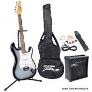 Pyle PEGKT15GS Beginner Electric Guitar Package Grey Silver