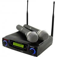 Pyle PDWM3300 Wireless Professional UHF Dual Channel Microphone System With 2 Microphones