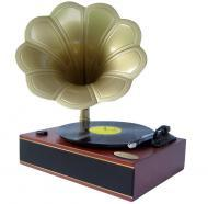 Pyle Home Audio PNGTT1R Classic Horn Phonograph/Turntable With USB-To-PC Connection And Aux-In (M...