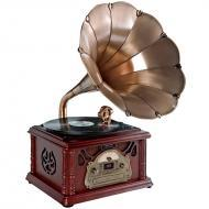 Pyle Home Audio PTCDCS3UIP Classical Trumpet Horn Turntable/Phonograph with AM/FM Radio CD/Casset...
