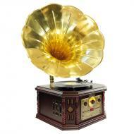 Pyle Home Audio PVNP4CD Vintage Phonograph Horn Turntable With CD, Cassette, AM/FM, Aux-In, USB-t...