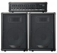 "PowerWerks PW100 P.A. 10"" Speaker Sound Box System - 2 Loudspeakers with 1 Mixer Amplification"