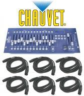 Chauvet DJ Lighting Obey 70 Light Fixture DMX-512 Controller with (6) DMX Cables Package
