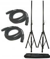 (2) DJ PA Speaker Universal Stands and (2) 15 Foot XLR Audio Cables Packages