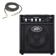 "Peavey MAX 158 Combo Amp 20W 8"" Bass Guitar Amplifier & 1/4"" Instrument Cable"