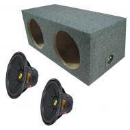 "Kicker (2) CWD15 CompD 15"" 2Ohm DVC Subwoofer w/ Dual 15-Inch Rear-Fire Sub Box"