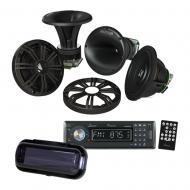 """Kicker KMS674C 6.75"""" Marine Component Speakers w/ In-Dash Receiver & Radio Cover"""