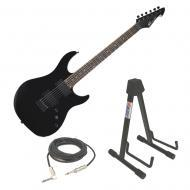 "Peavey AT-200 Black Finish Electric Guitar w/ Adjustable ""A"" Frame Stand & Cable"