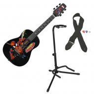 Peavey Marvel Spiderman 1/2 Acoustic Guitar w/ GFW-GTR-1000 Instrument Stand