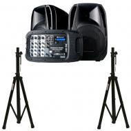 American DJ ELSPA10 Portable Amplified PA System w/ 2 Adjustable Tripod Stands