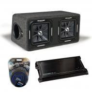 "Kicker Car Audio Loaded Dual 12"" DS12 Solobaric L7 Subwoofer Box Sub Enclosure with ZX1500.1..."