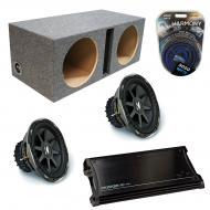 "Kicker Car Audio Loaded Dual 10"" Sealed CVX10 Comp VX Subwoofer Enclosure Sub box with ZX150..."