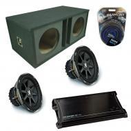 "Kicker Car Stereo Loaded Dual 10"" Ported CVX10 Comp VX Subwoofer Enclosure Sub box with ZX15..."
