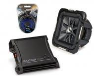"Kicker Car Stereo 12"" Sub Package 2011 S12L7 Dual 4 Ohm Subwoofer, ZX400.1 Refurbished Amp &..."