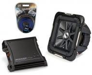 "Kicker Car Audio 10"" Sub Package 2011 S10L7 Dual 4 Ohm Subwoofer, ZX400.1 Refurbished Amp &a..."