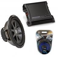 "Kicker Car Stereo 12"" Sub Package CVR12 Dual 4 Ohm Subwoofer, ZX400.1 Amp & Install Wire..."