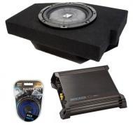 "Dodge Ram Quad Cab 02-12 10"" Amplified Kicker CVT10 Sub Box W/ DX500.1 & 8 Gauge Amp Kit"