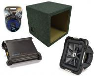 "Kicker Car Audio 15"" Loaded S15L7 Dual 4 Ohm Sealed Subwoofer Box, DX500.1 Amp & Amplifi..."