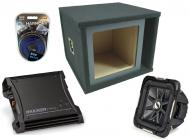 """Kicker Car Stereo 10"""" Loaded S10L7 Dual 4 Ohm Ported Subwoofer Box, ZX400.1 Amp & Amplif..."""