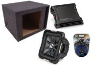 """Kicker Car Stereo 15"""" Loaded S15L7 Dual 4 Ohm Vented Subwoofer Box, ZX400.1 Amp & Amplif..."""