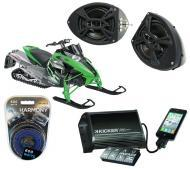 "Artic Cat Snowmobile Kicker DSC5 & PXI50.2 iPhone Controlled Amp Custom 5 1/4"" Speaker P..."