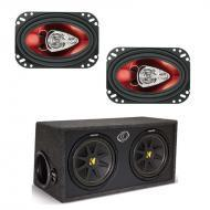 Kicker DC12 Dual 12-Inch 300W RMS Subwoofer Box with 4x6-Inch 3-Way Speakers