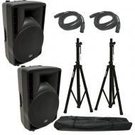 "(2) Harmony Audio HA-C12A Pro DJ 12"" Powered 800W PA Speaker XLR Cable (2) Stand"
