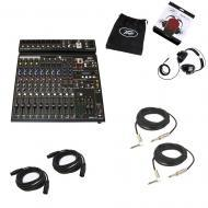 Peavey PV14 AT Pro Audio DJ Auto Tune 14 Channel Mixer Headphones & Cables New