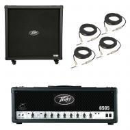 Peavey 6505 412 Straight Cabinet & 6505 Amp Head Electric Guitar Package Cables