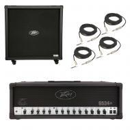 Peavey 6505 412 Straight Cabinet & 6534 + Plus Amp Head Guitar Package w/ Cables