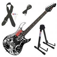 Peavey Rockmaster The Walking Dead Black & White Splash Electric Guitar & Stand