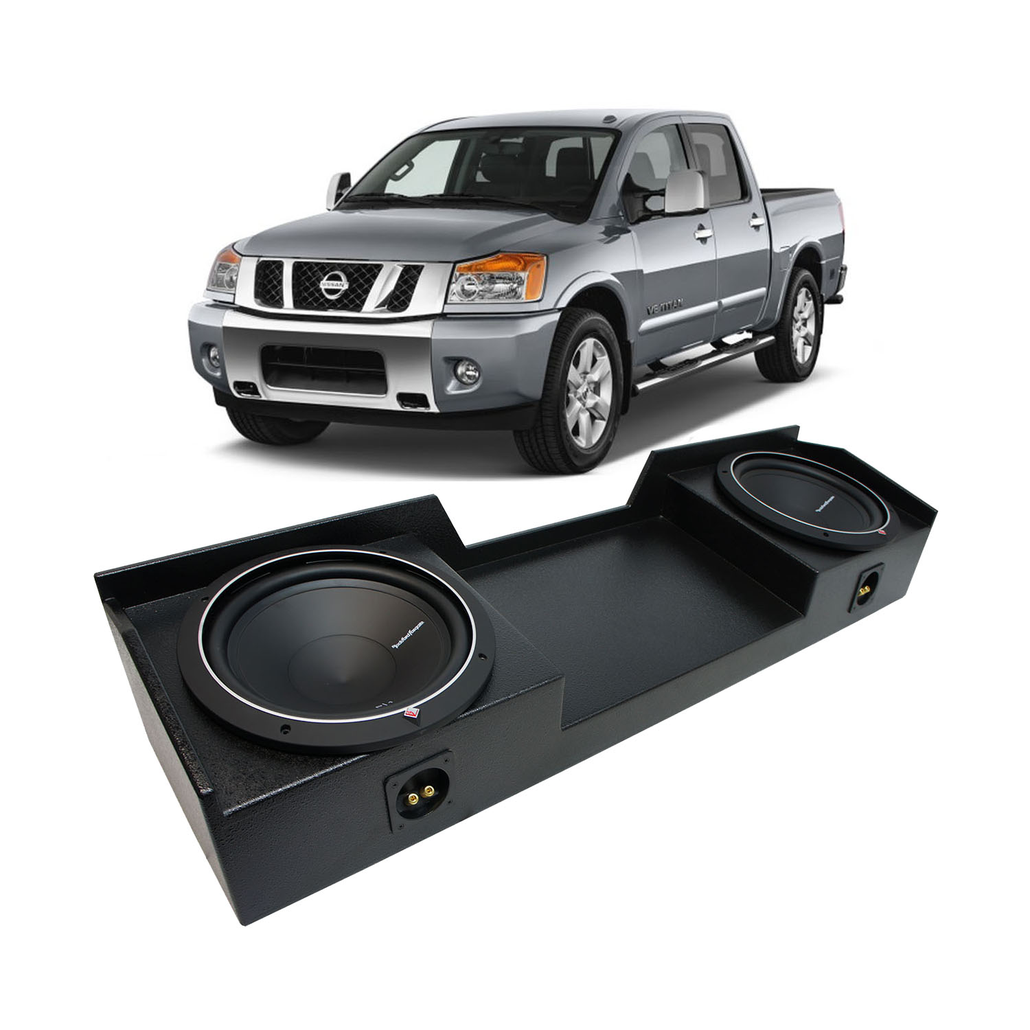 04 15 nissan titan king or crew truck rockford punch p1s412 dual 12 quot rhino coated sub box