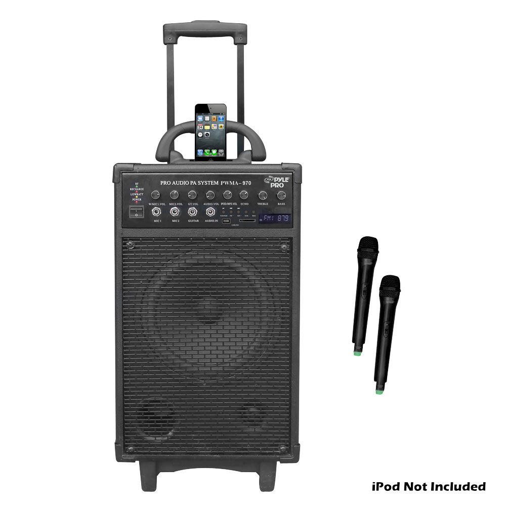 pyle pro audio pwma970 300 watt dual channel wireless rechargeable portable pa system with ipod. Black Bedroom Furniture Sets. Home Design Ideas