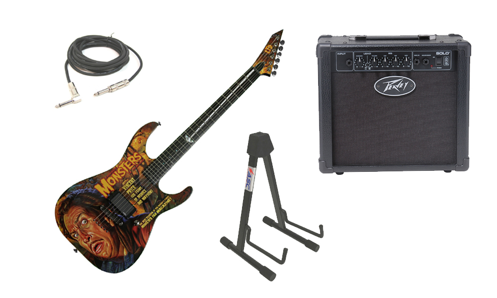 esp ltd graphic series famous monster vincent price 6 string electric guitar with peavey solo. Black Bedroom Furniture Sets. Home Design Ideas