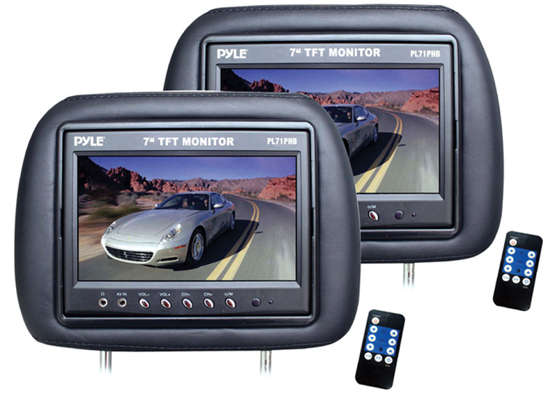 Pyle Car Audio PL71PHB Adjustable Headrest Pair with Built-in 7' TFT-LCD Monitors (Black) (Pair)