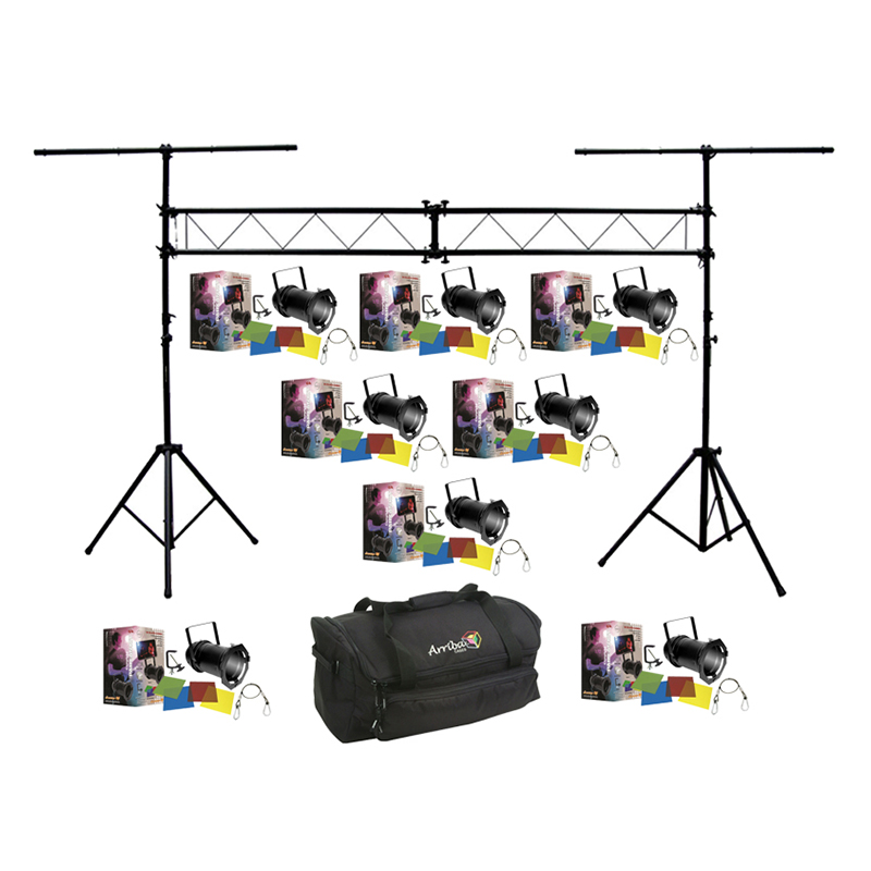 American dj lighting 8 64 black combo par can stage for Lighting packages for new homes