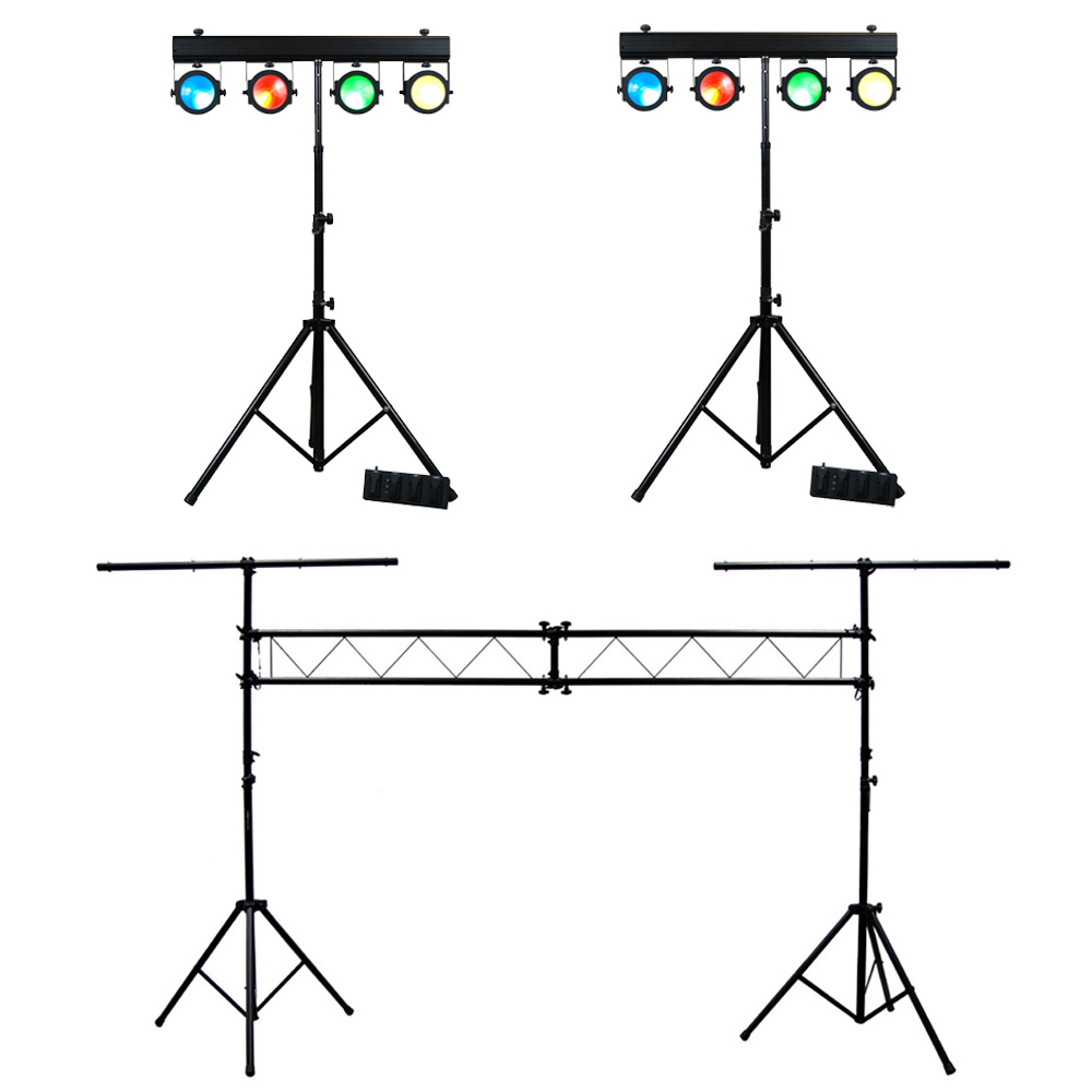 2 american dj lighting dotz tpar system slim cob led stands with truss package. Black Bedroom Furniture Sets. Home Design Ideas