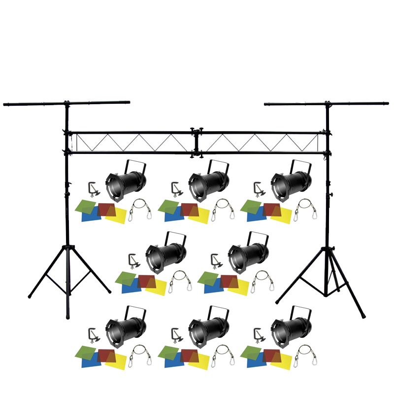 American dj lighting 8 46 black combo par can stage for Lighting packages for new homes