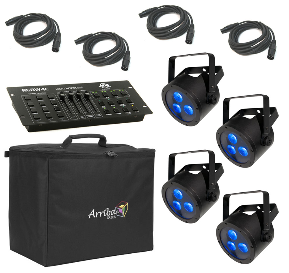 chauvet dj lighting 4 slimpar quad 3 irc par can rgba led wash light with travel bag dmx. Black Bedroom Furniture Sets. Home Design Ideas
