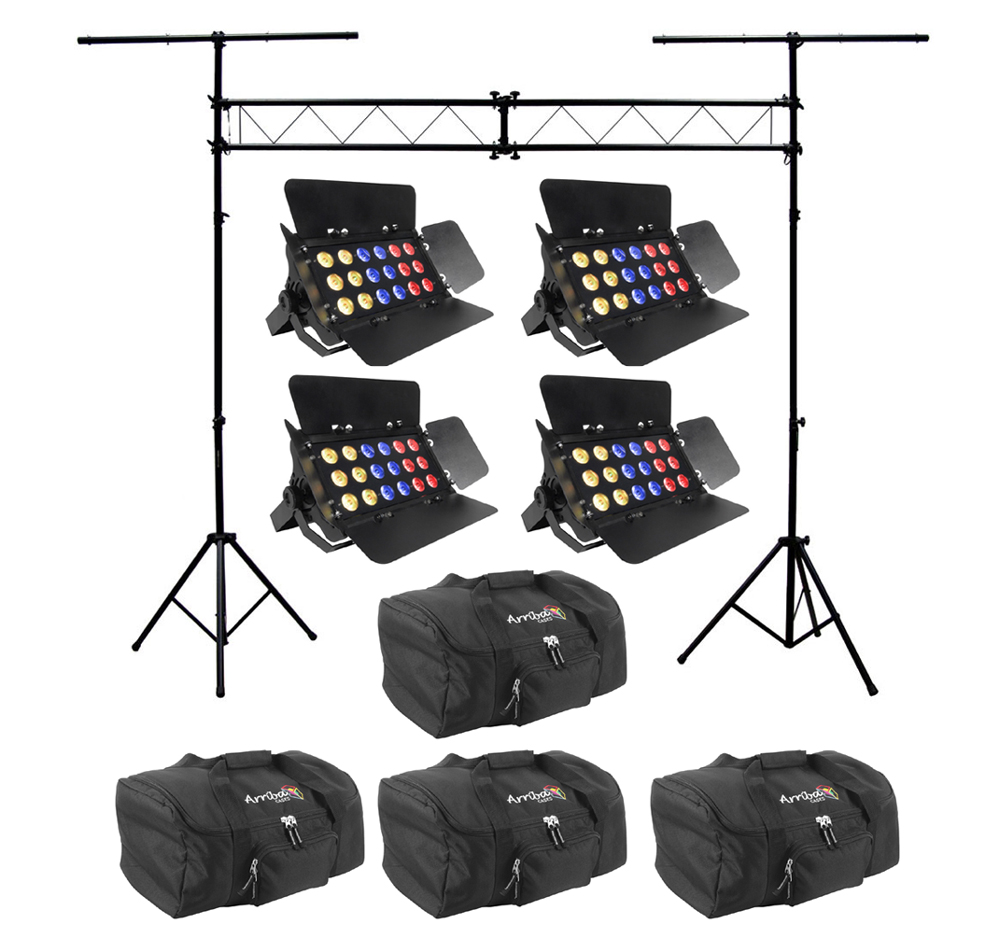 chauvet dj lighting 4 slimbank tri 18 wide area led stage wash light with truss system travel. Black Bedroom Furniture Sets. Home Design Ideas