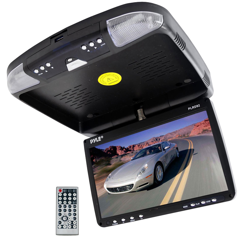 Pyle Car Audio PLRD92 9' Flip Down Roof Mount Monitor & DVD player with Wireless FM Modulator / IR Transmitter