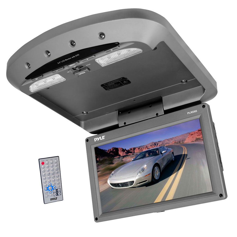Pyle PLRD95 9.5' Flip Down Roof-Mount Monitor with DVD SD USB Player Wireless FM & IR Transmitter