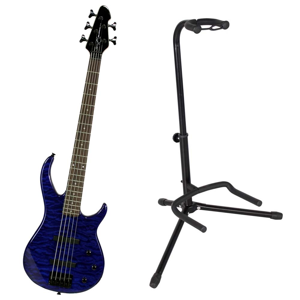 peavey millennium 5 string transblue electric bass guitar w instrument stand ppackage 230. Black Bedroom Furniture Sets. Home Design Ideas