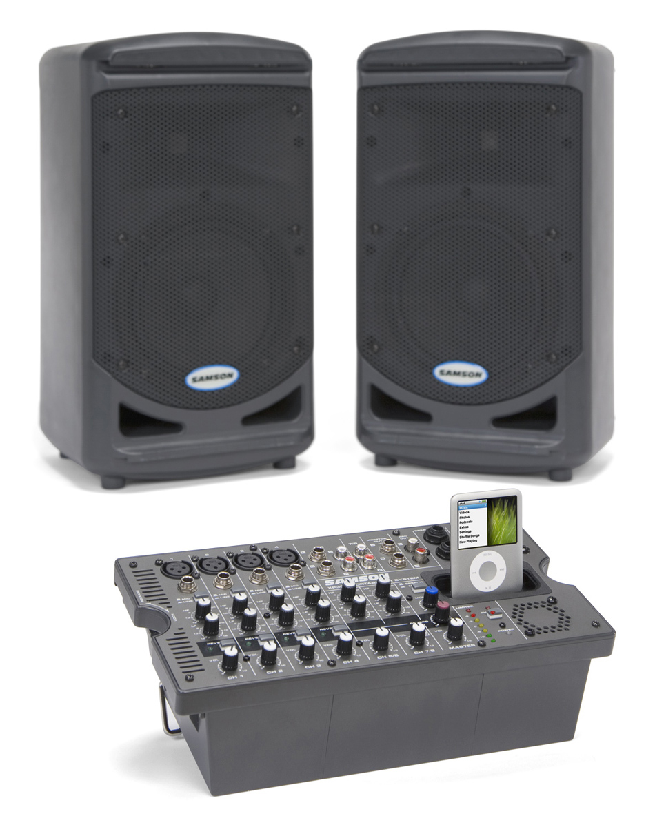 samson xp308i compact portable pa system with dual 2 way speakers mixer and 300 watt amplifier. Black Bedroom Furniture Sets. Home Design Ideas