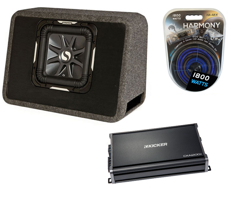 "Kicker Car Stereo Single L7 10"" TS10L7 Loaded Truck Sub Box, CX1200.1 Amplifier & Amp Install Kit"